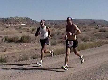 Mick & Ben finishing the Kokopelli Trail Half Marathon